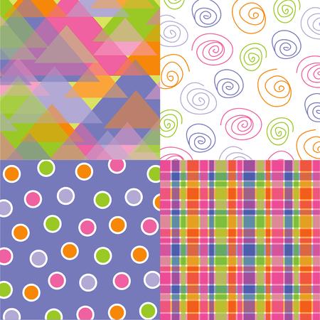 fun pastel triangles, plaid, dots, spirals quads Vector