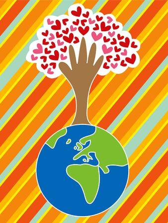 earth in hand: tierra de la historieta, mano, �rbol y amor (vector)
