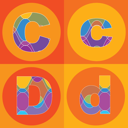 funky groovy lines ALPHABETS quads - part of a complete set Vector