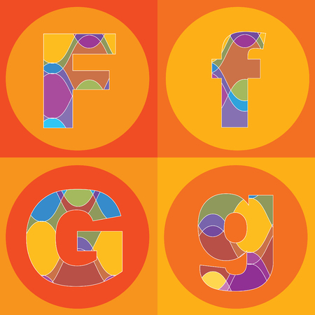 funky groovy lines ALPHABETS quads - part of a complete set Stock Vector - 1951460