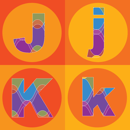 funky groovy lines ALPHABETS quads - part of a complete set Stock Vector - 1951471