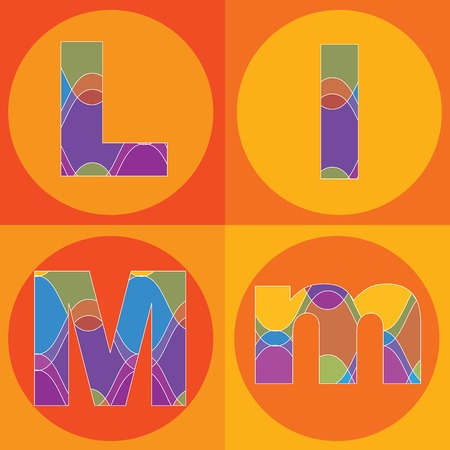 funky groovy lines ALPHABETS quads - part of a complete set Stock Vector - 1951501