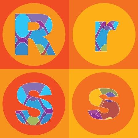 funky groovy lines ALPHABETS quads - part of a complete set Stock Vector - 1951494