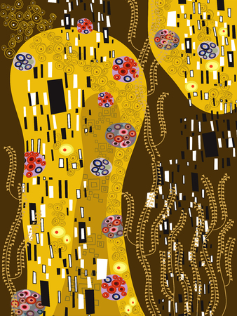 klimt inspired abstract art Vector