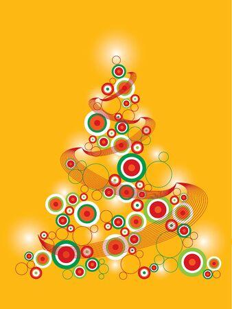 retro funky christmas tree on yellow (vector) Illustration
