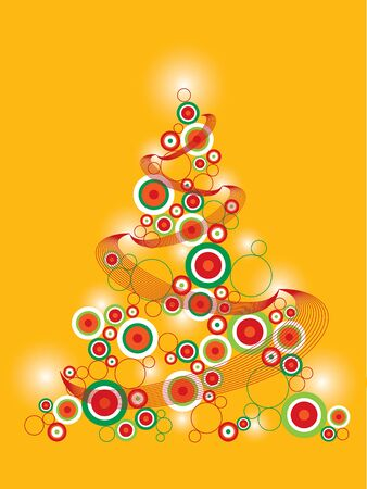 webbing: retro funky christmas tree on yellow (vector) Illustration