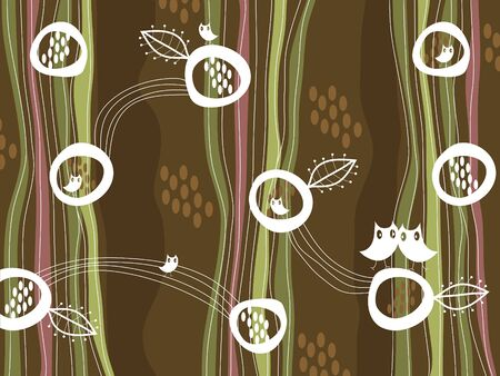 retro owls and nest on brown (vector) Vector
