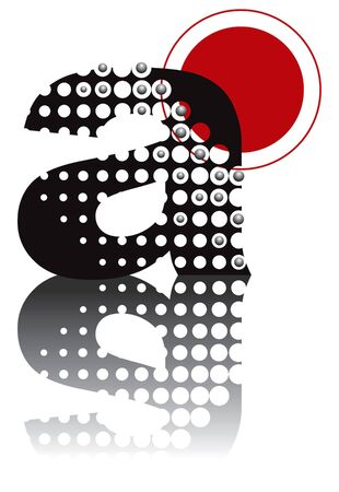 white letters: retro dots abstract zen alphabet design - part of a complete set Illustration