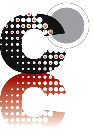 retro dots abstract zen alphabet design - part of a complete set Vector