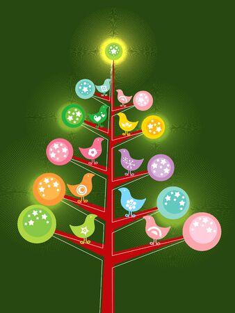 retro chicks christmas tree Stock Vector - 1989953