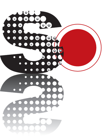 red spot: retro dots abstract zen alphabet design - part of a complete set Illustration
