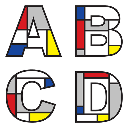 mondrian alphabets - part of a full set Stock Vector - 1998625