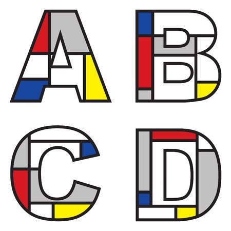 mondrian alphabets - part of a full set Illustration