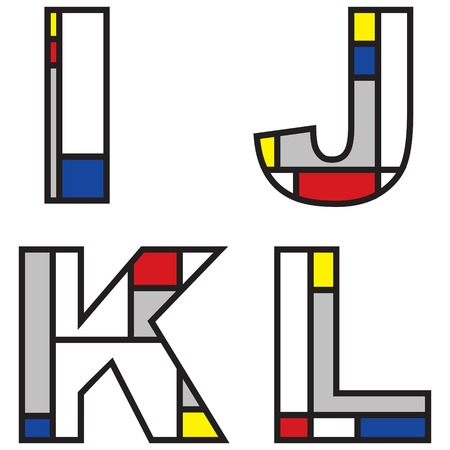 mondrian alphabets - part of a full set Vector