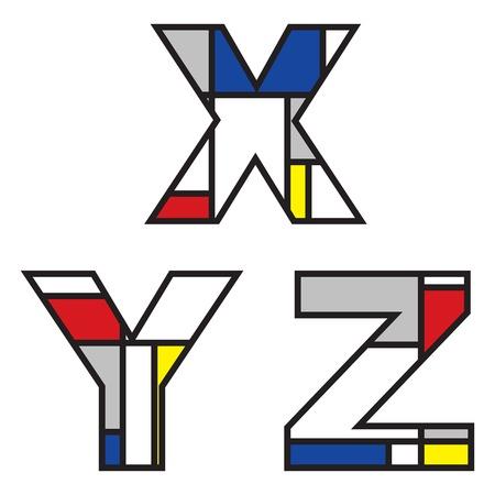 mondrian alphabets - part of a full set Stock Vector - 1998621