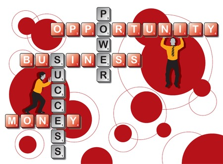 retro business tile word play and men (vector) Vector