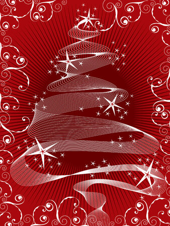 sparkling stars christmas tree on red (vector) Vector