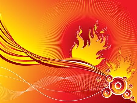 fire retro circles twist background (vector) Illustration