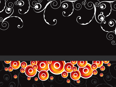 glowing retro circles split with swirls on black background (vector) Vector