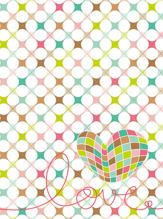 retro pastel mosaic love heart (vector) Vector