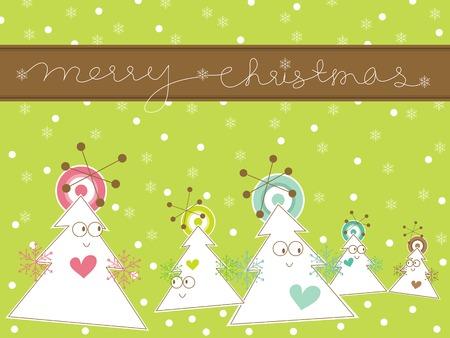 cartoon whimsical christmas tree greeting Vector