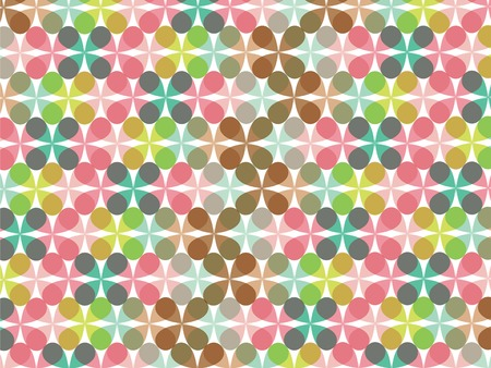 retro fun pastel flower clover pattern Vector