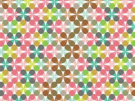 retro fun pastel flower clover pattern