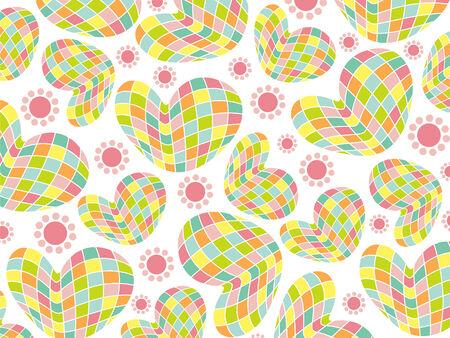 retro fun mosaic 3D pastel hearts Vector