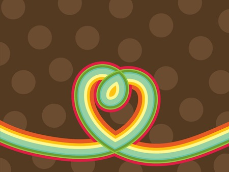 loopy: retro pop rainbow line loopy heart and polka dots (vector) Illustration