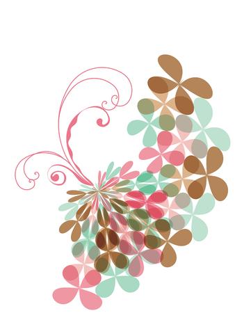 sweet pink pastel clover butterfly swirl (vector) Vector