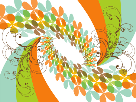 retro butterfly clover orange rainbow swirls Stock Vector - 2045139