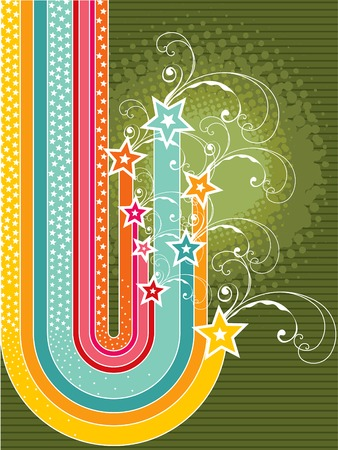 retro rainbow curve stripes grunge stars Vector