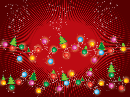 sparkling stars christmas trees and lights Vector