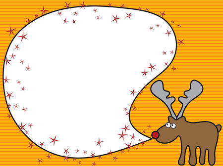 cartoon reindeer: Cartoon reindeer greeting - blank for your own message