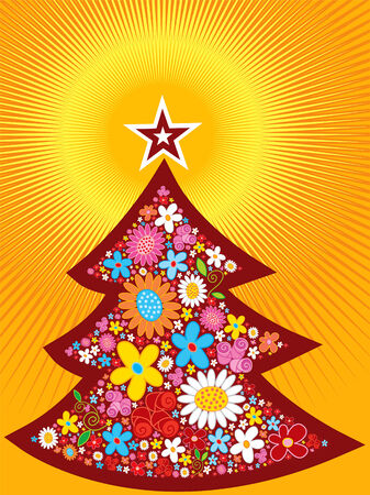 Spring flower christmas tree glow Vector
