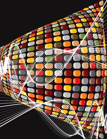 retro disco: torcedura ondulada del mosaico brillante del marr�n del disco del retro