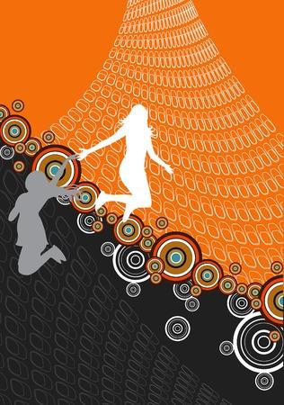 webbing: retro orange abstract jumping girls