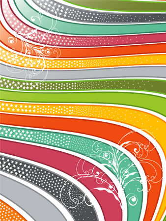 retro glossy rainbow wavy lines with swirls Vector