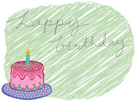 retro font: cartoon happy birthday cake saluto  Vettoriali