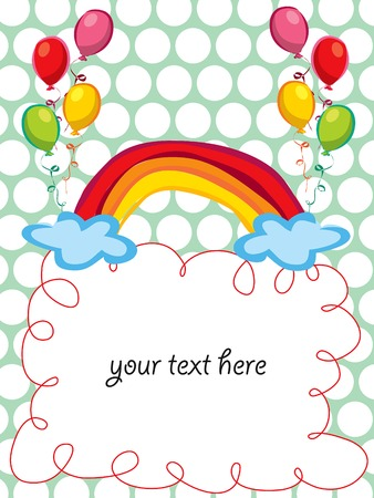 colorful rainbow and balloons greeting - blank for your own text Stock Vector - 2092907