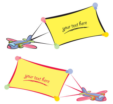 Cartoon planes with banners - blank for your own message Vector