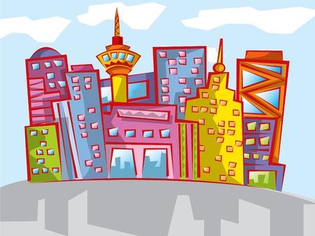Paysage urbain color� de dessin anim� damusement