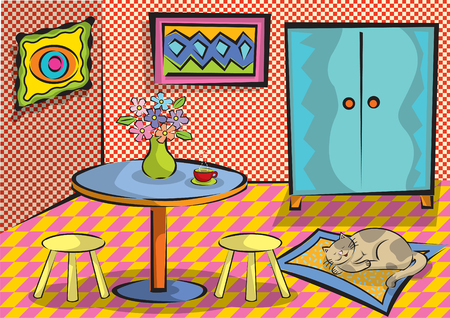 Cartoon funky room with cat Vector