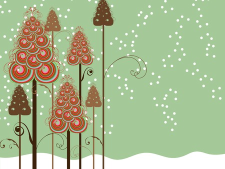 whimsical swirls winter trees Vector