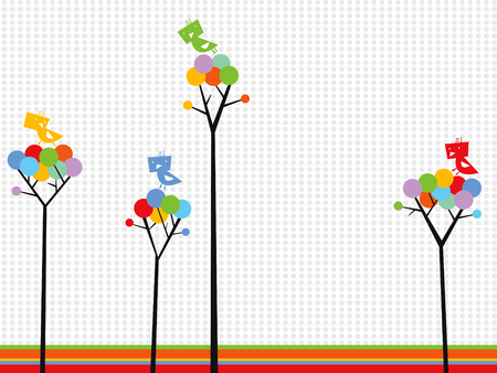 cute birds on color dots trees Vector