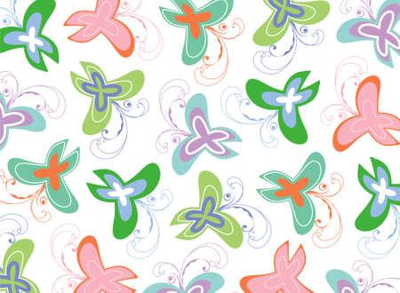 sweet spring pastel butterflies swirls pattern Stock Vector - 2118135