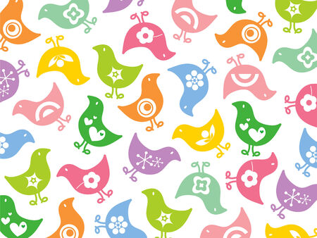 retro colorful fun icon chicks pattern Vector