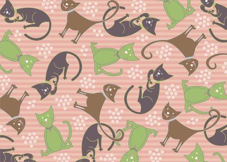 pastel feline cats pattern Vector