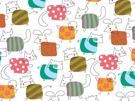 whimsical cute farm animals Vector