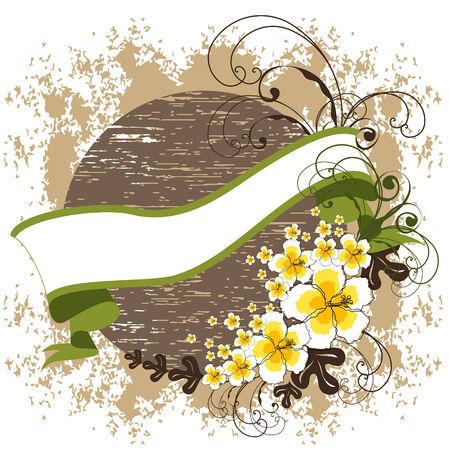 stylize: gele hibiscus swirls, banner en vintage achtergrond - blanco voor uw eigen tekst Stock Illustratie